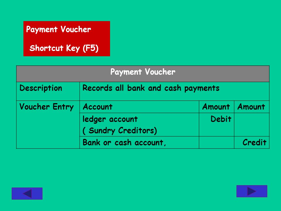 Payment Voucher Shortcut Key (F5) Payment Voucher DescriptionRecords all bank and cash payments Voucher EntryAccountAmount ledger account ( Sundry Creditors) Debit Bank or cash account,Credit