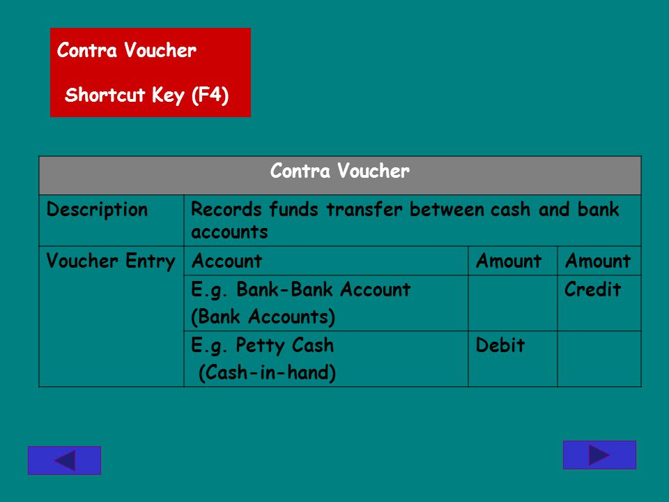 Contra Voucher Shortcut Key (F4) Contra Voucher DescriptionRecords funds transfer between cash and bank accounts Voucher EntryAccountAmount E.g.