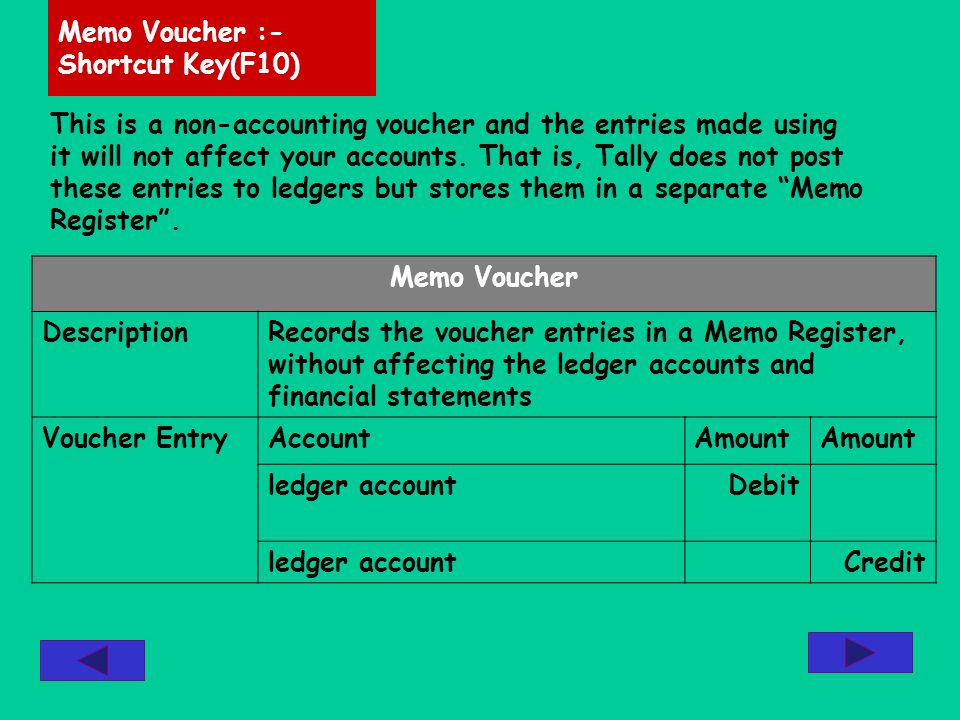 This is a non-accounting voucher and the entries made using it will not affect your accounts.