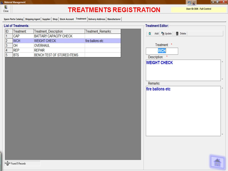 TREATMENTS REGISTRATION