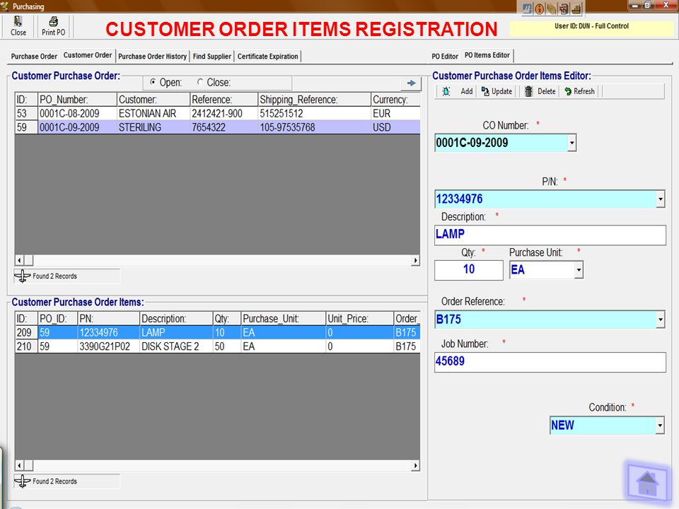 CUSTOMER ORDER ITEMS REGISTRATION