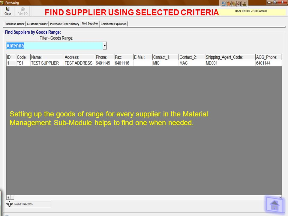 FIND SUPPLIER USING SELECTED CRITERIA Setting up the goods of range for every supplier in the Material Management Sub-Module helps to find one when needed.