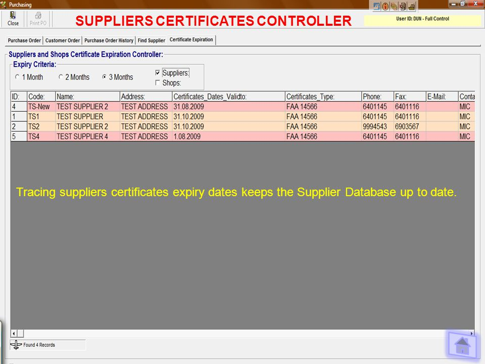 SUPPLIERS CERTIFICATES CONTROLLER Tracing suppliers certificates expiry dates keeps the Supplier Database up to date.