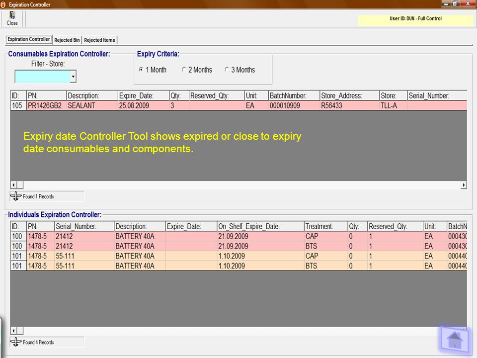 Expiry date Controller Tool shows expired or close to expiry date consumables and components.