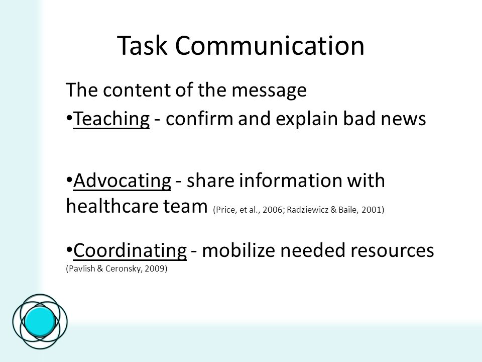 Task Communication The content of the message Teaching - confirm and explain bad news Advocating - share information with healthcare team (Price, et al., 2006; Radziewicz & Baile, 2001) Coordinating - mobilize needed resources (Pavlish & Ceronsky, 2009)
