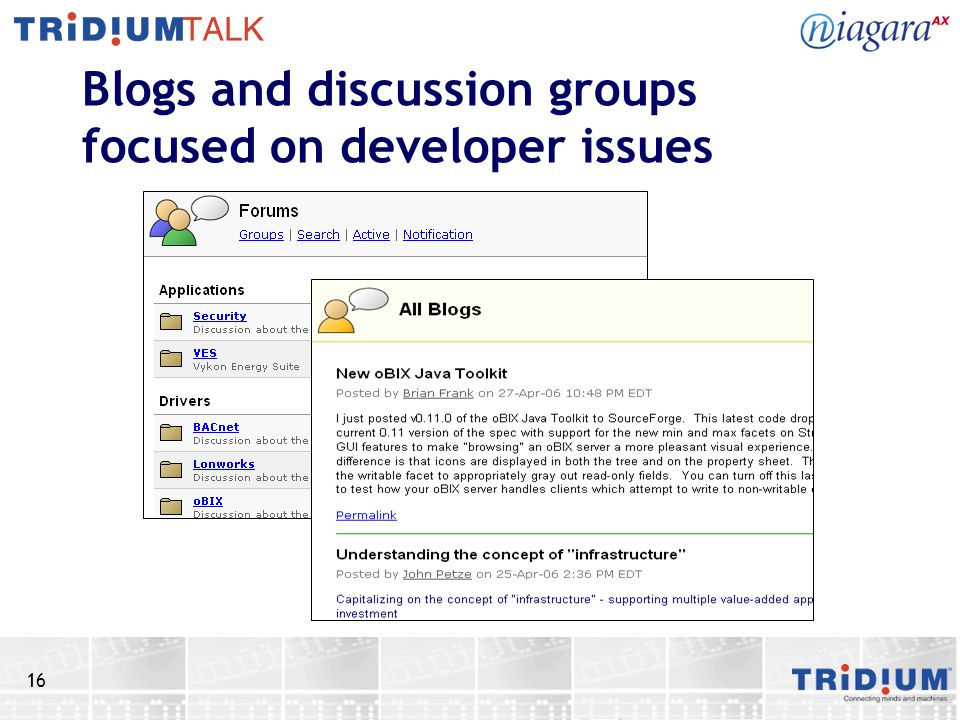 16 Blogs and discussion groups focused on developer issues