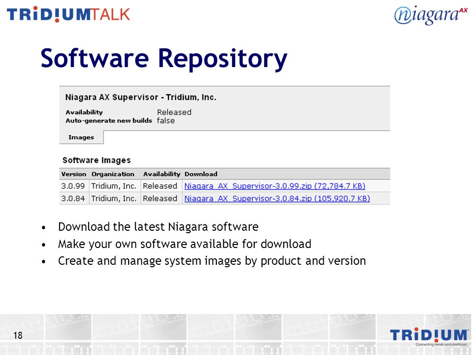18 Software Repository Download the latest Niagara software Make your own software available for download Create and manage system images by product and version