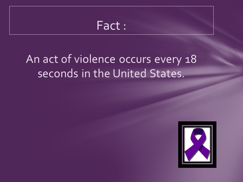 An act of violence occurs every 18 seconds in the United States. Fact :