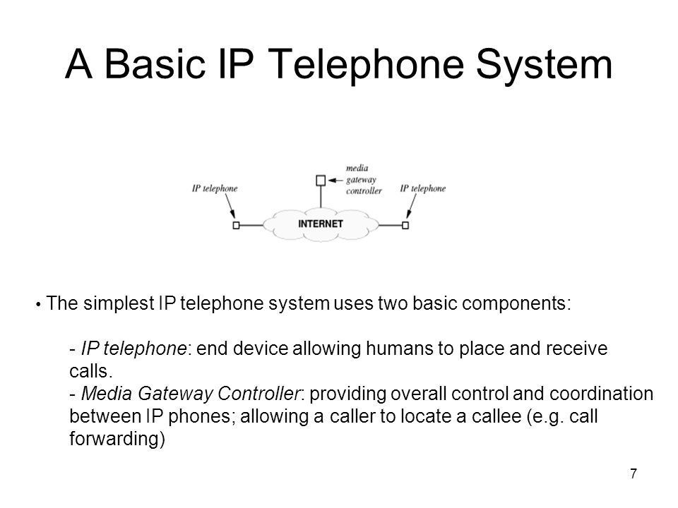 7 A Basic IP Telephone System The simplest IP telephone system uses two basic components: - IP telephone: end device allowing humans to place and receive calls.