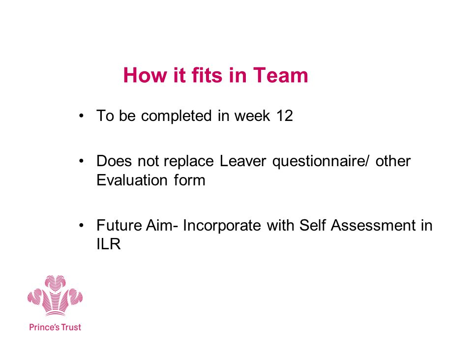 How it fits in Team To be completed in week 12 Does not replace Leaver questionnaire/ other Evaluation form Future Aim- Incorporate with Self Assessment in ILR