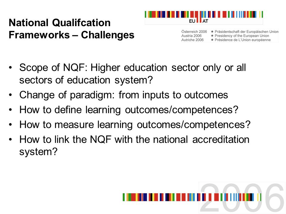 National Qualifcation Frameworks – Challenges Scope of NQF: Higher education sector only or all sectors of education system.