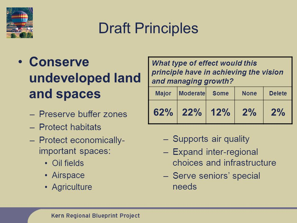 Conserve undeveloped land and spaces What type of effect would this principle have in achieving the vision and managing growth.