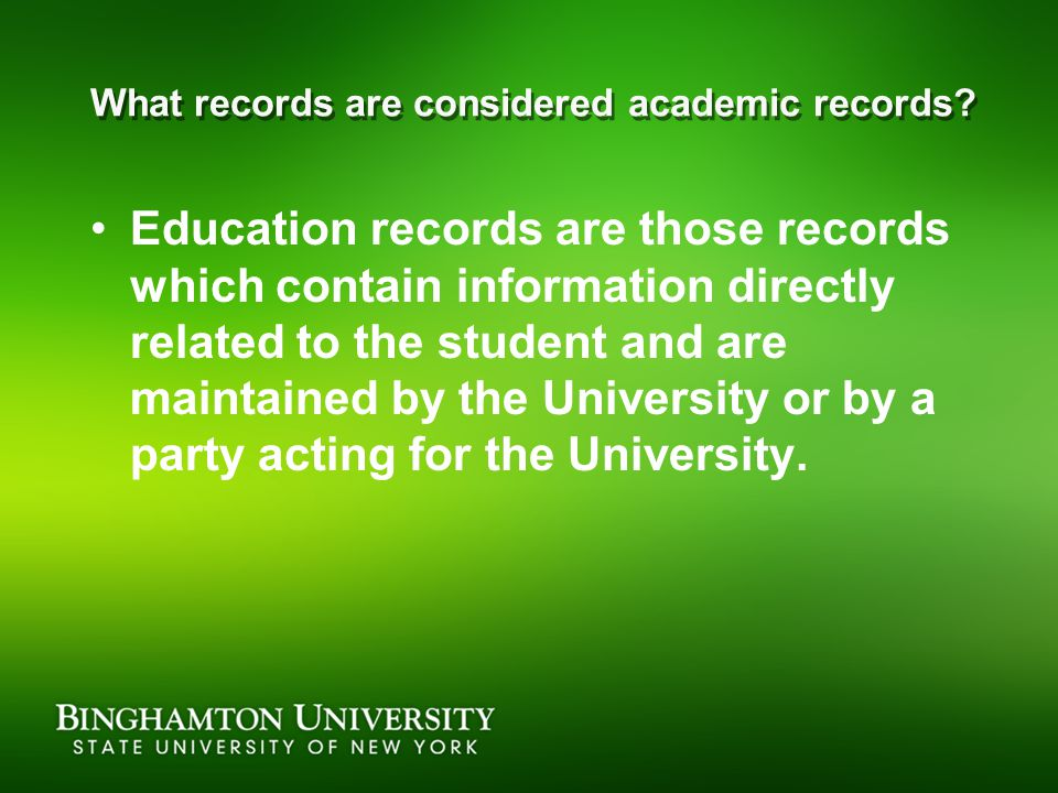 What records are considered academic records.