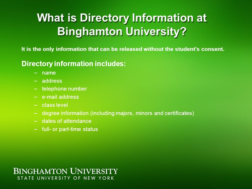 What is Directory Information at Binghamton University.