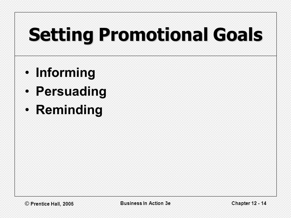 © Prentice Hall, 2005 Business In Action 3eChapter Setting Promotional Goals Informing Persuading Reminding