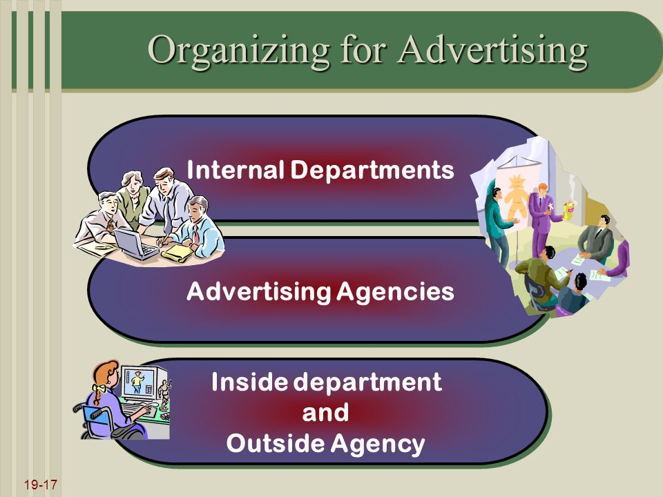 19-17 Organizing for Advertising Internal Departments Advertising Agencies Inside department and Outside Agency Inside department and Outside Agency