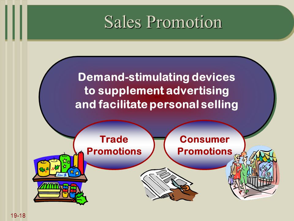19-18 Sales Promotion Demand-stimulating devices to supplement advertising and facilitate personal selling Demand-stimulating devices to supplement advertising and facilitate personal selling Trade Promotions Consumer Promotions
