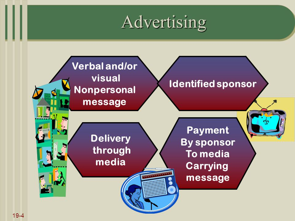 19-4 Advertising Verbal and/or visual Nonpersonal message Delivery through media Identified sponsor Payment By sponsor To media Carrying message