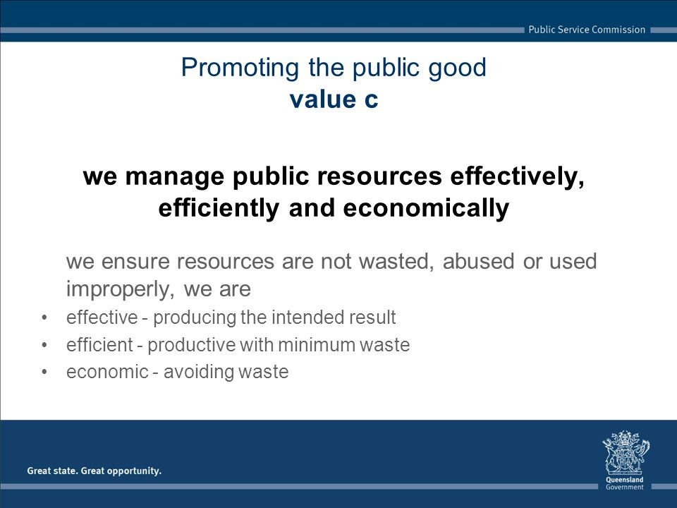 Promoting the public good value c we manage public resources effectively, efficiently and economically we ensure resources are not wasted, abused or used improperly, we are effective - producing the intended result efficient - productive with minimum waste economic - avoiding waste