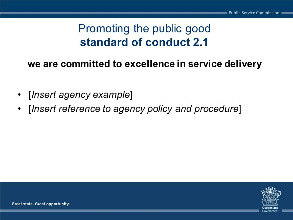 [Insert agency example] [Insert reference to agency policy and procedure] Promoting the public good standard of conduct 2.1 we are committed to excellence in service delivery