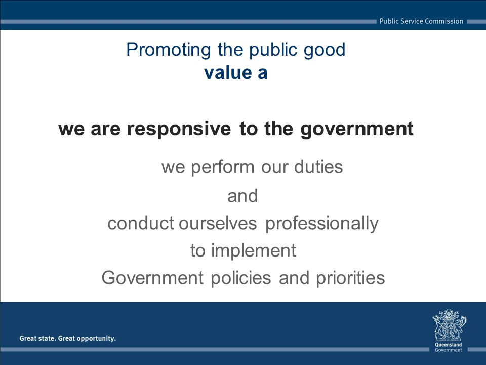 Promoting the public good value a we are responsive to the government we perform our duties and conduct ourselves professionally to implement Government policies and priorities