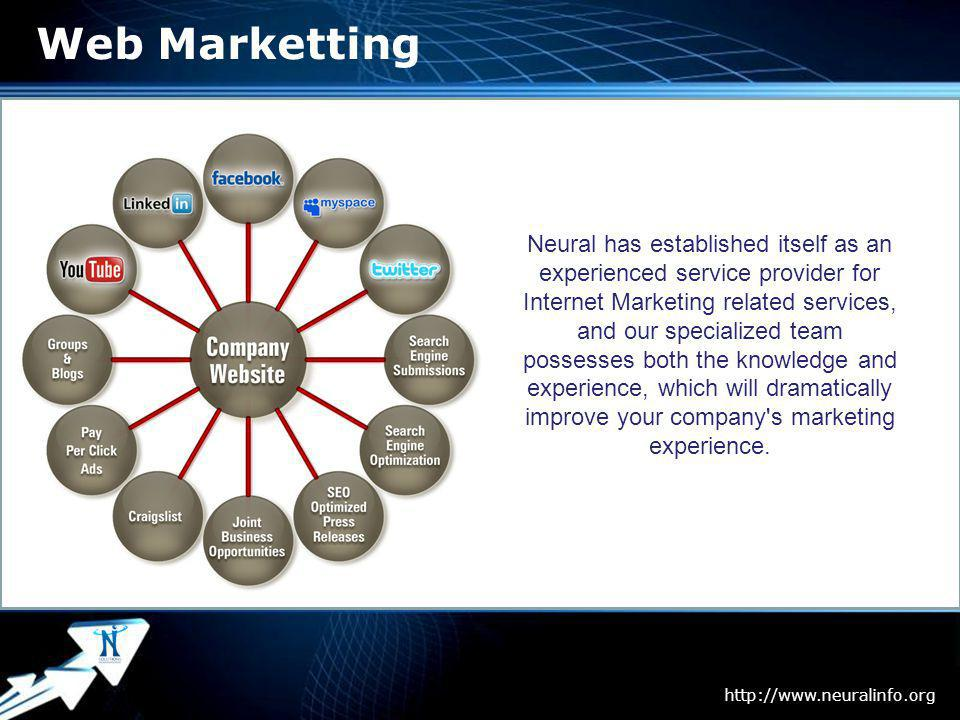 Page 8 Web Marketting Neural has established itself as an experienced service provider for Internet Marketing related services, and our specialized team possesses both the knowledge and experience, which will dramatically improve your company s marketing experience.