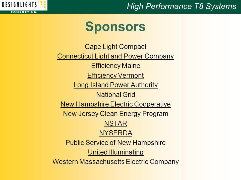 8 High Performance T8 Systems Sponsors Cape Light Compact Connecticut Light  And Power Company ...