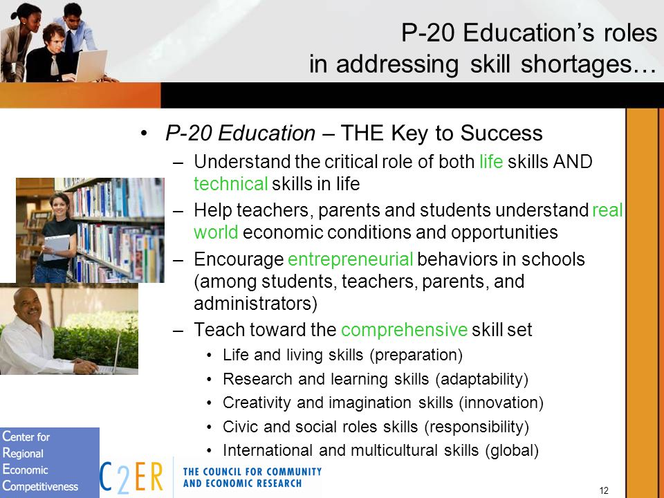 12 P-20 Educations roles in addressing skill shortages… P-20 Education – THE Key to Success –Understand the critical role of both life skills AND technical skills in life –Help teachers, parents and students understand real world economic conditions and opportunities –Encourage entrepreneurial behaviors in schools (among students, teachers, parents, and administrators) –Teach toward the comprehensive skill set Life and living skills (preparation) Research and learning skills (adaptability) Creativity and imagination skills (innovation) Civic and social roles skills (responsibility) International and multicultural skills (global)