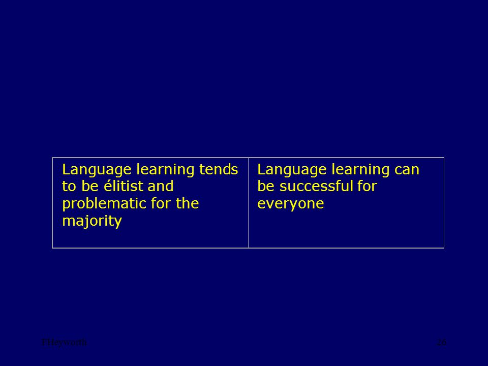 FHeyworth26 Language learning tends to be élitist and problematic for the majority Language learning can be successful for everyone
