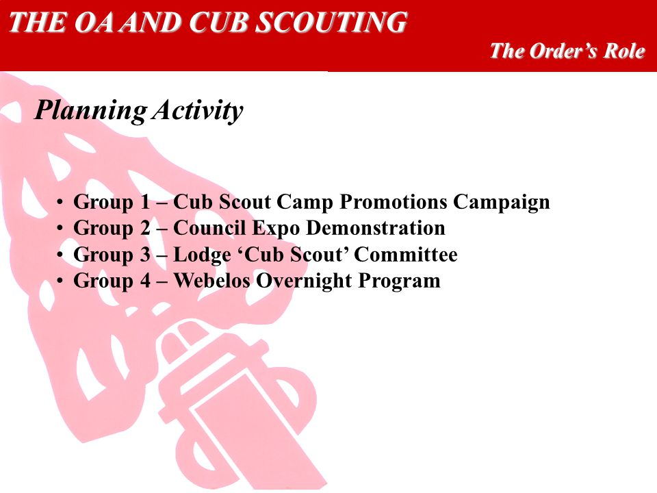 THE OA AND CUB SCOUTING The Orders Role Planning Activity Group 1 – Cub Scout Camp Promotions Campaign Group 2 – Council Expo Demonstration Group 3 – Lodge Cub Scout Committee Group 4 – Webelos Overnight Program
