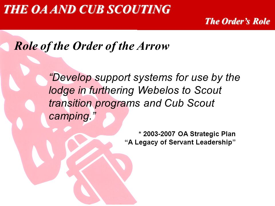 THE OA AND CUB SCOUTING The Orders Role Develop support systems for use by the lodge in furthering Webelos to Scout transition programs and Cub Scout camping.