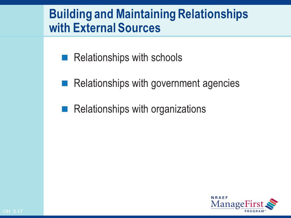 OH 3-17 Building and Maintaining Relationships with External Sources Relationships with schools Relationships with government agencies Relationships with organizations