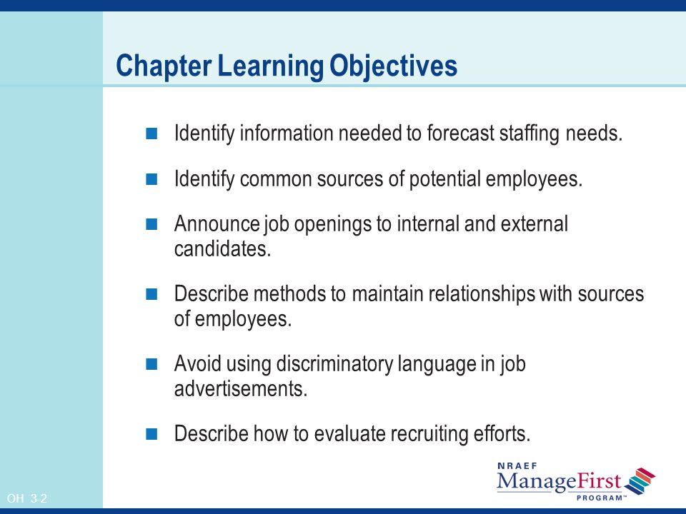 OH 3-2 Chapter Learning Objectives Identify information needed to forecast staffing needs.