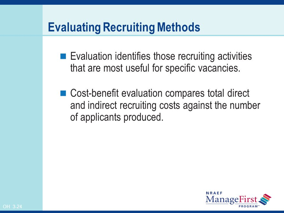 OH 3-24 Evaluating Recruiting Methods Evaluation identifies those recruiting activities that are most useful for specific vacancies.