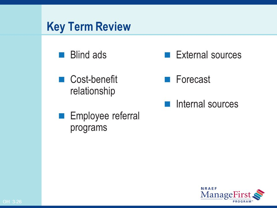 OH 3-26 Key Term Review Blind ads Cost-benefit relationship Employee referral programs External sources Forecast Internal sources