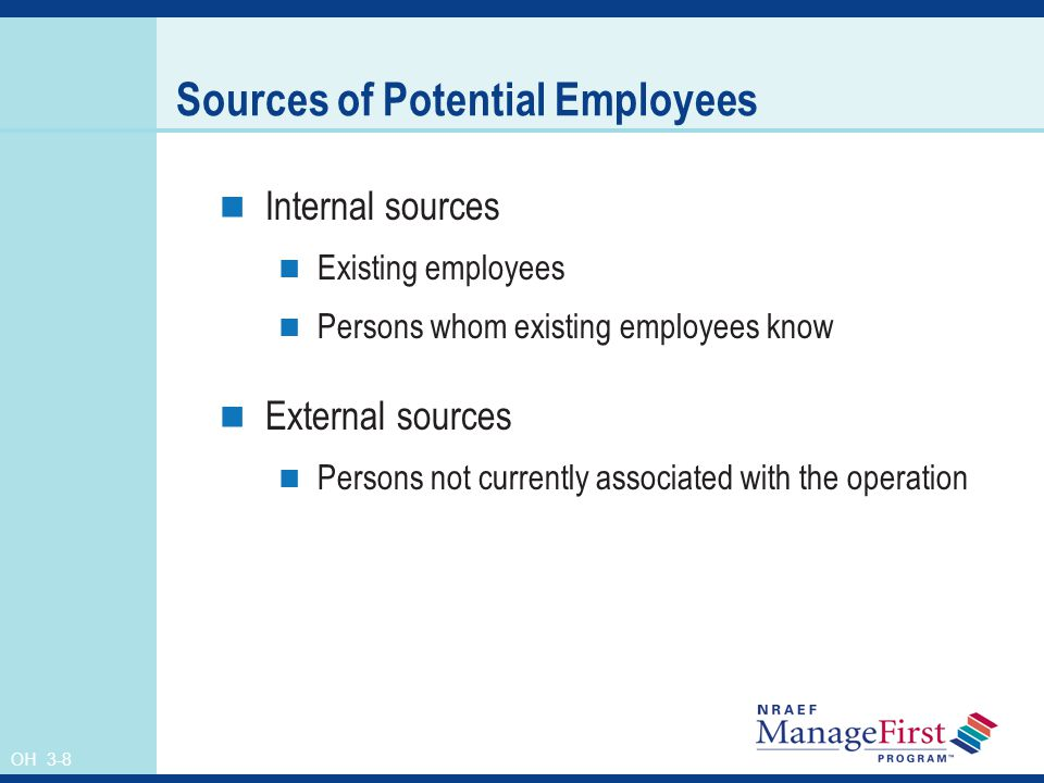 OH 3-8 Sources of Potential Employees Internal sources Existing employees Persons whom existing employees know External sources Persons not currently associated with the operation