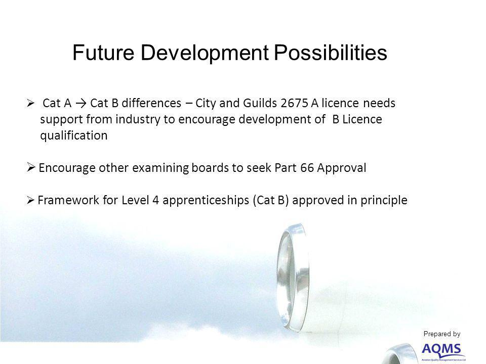 Future Development Possibilities Cat A Cat B differences – City and Guilds 2675 A licence needs support from industry to encourage development of B Licence qualification Encourage other examining boards to seek Part 66 Approval Framework for Level 4 apprenticeships (Cat B) approved in principle Prepared by