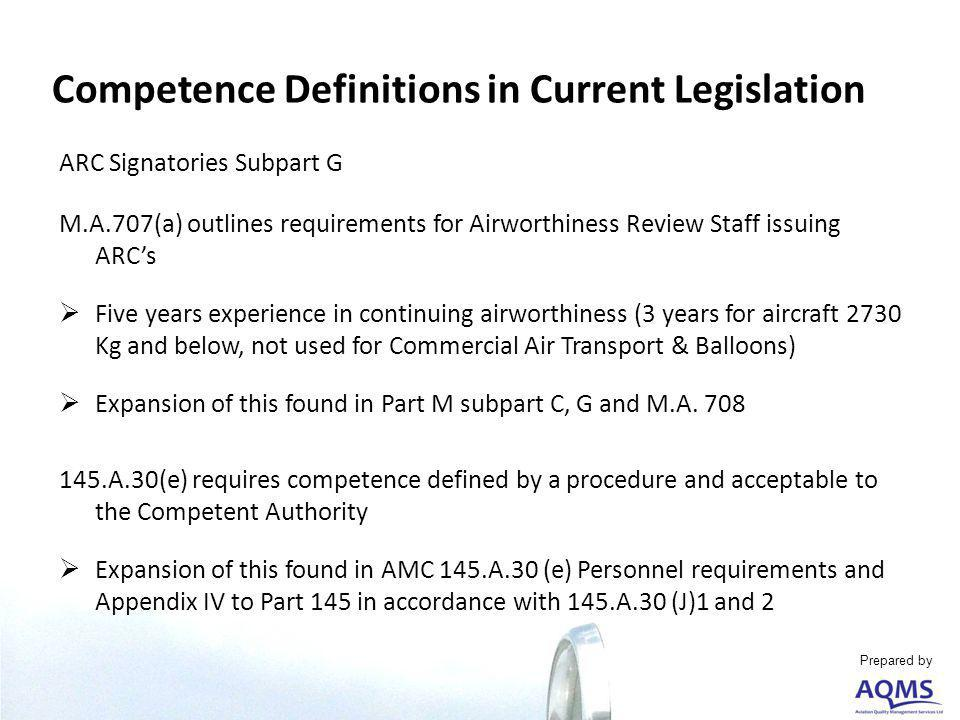 ARC Signatories Subpart G M.A.707(a) outlines requirements for Airworthiness Review Staff issuing ARCs Five years experience in continuing airworthiness (3 years for aircraft 2730 Kg and below, not used for Commercial Air Transport & Balloons) Expansion of this found in Part M subpart C, G and M.A.