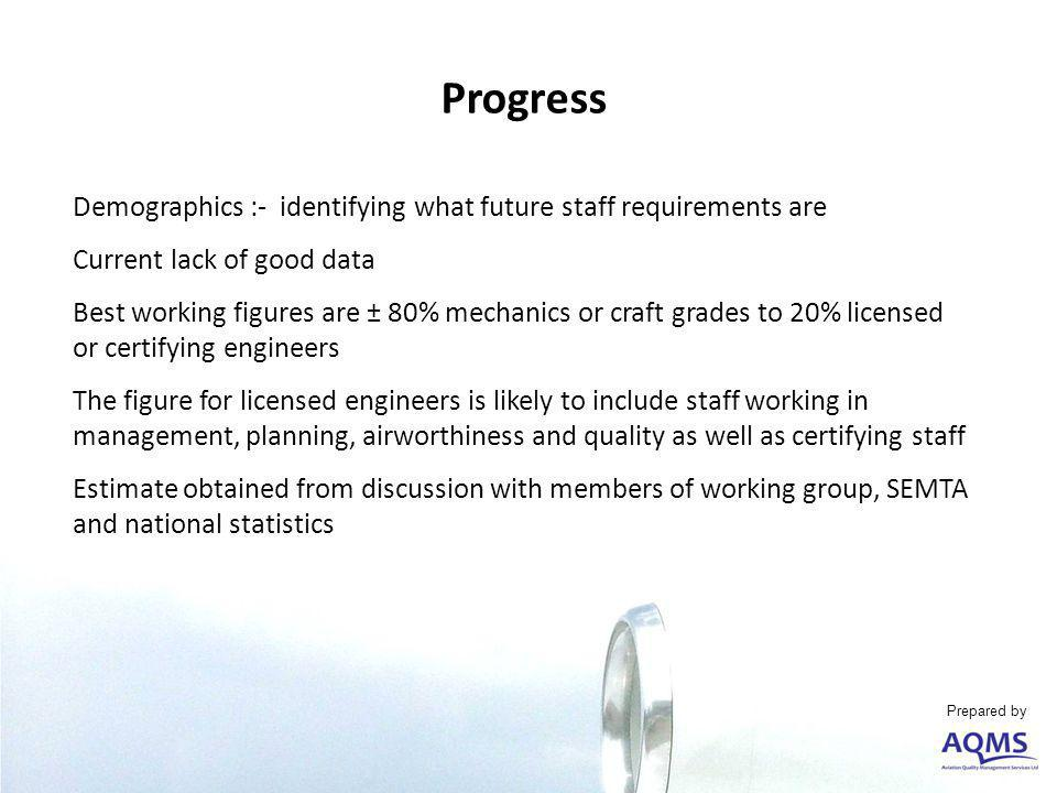 Progress Demographics :- identifying what future staff requirements are Current lack of good data Best working figures are ± 80% mechanics or craft grades to 20% licensed or certifying engineers The figure for licensed engineers is likely to include staff working in management, planning, airworthiness and quality as well as certifying staff Estimate obtained from discussion with members of working group, SEMTA and national statistics Prepared by