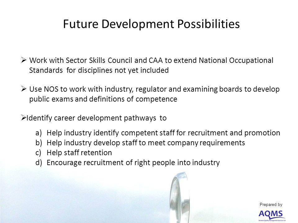 Future Development Possibilities Work with Sector Skills Council and CAA to extend National Occupational Standards for disciplines not yet included Use NOS to work with industry, regulator and examining boards to develop public exams and definitions of competence Identify career development pathways to a)Help industry identify competent staff for recruitment and promotion b)Help industry develop staff to meet company requirements c)Help staff retention d)Encourage recruitment of right people into industry Prepared by