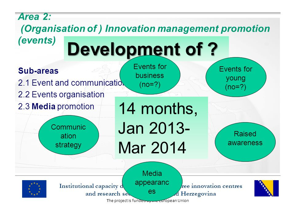 The project is funded by the European Union Institutional capacity development of the three innovation centres and research sector in Bosnia and Herzegovina Area 2: (Organisation of ) Innovation management promotion (events) Sub-areas 2.1 Event and communication planning 2.2 Events organisation 2.3 Media promotion Development of .