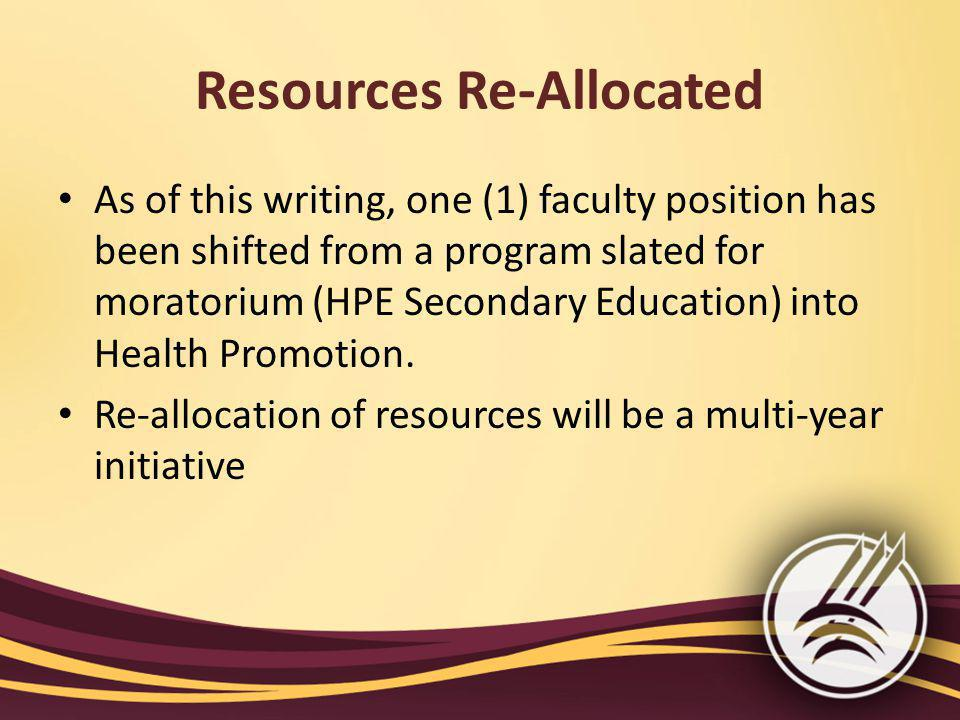 Resources Re-Allocated As of this writing, one (1) faculty position has been shifted from a program slated for moratorium (HPE Secondary Education) into Health Promotion.