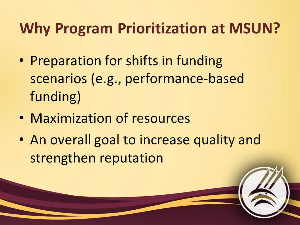 Why Program Prioritization at MSUN.