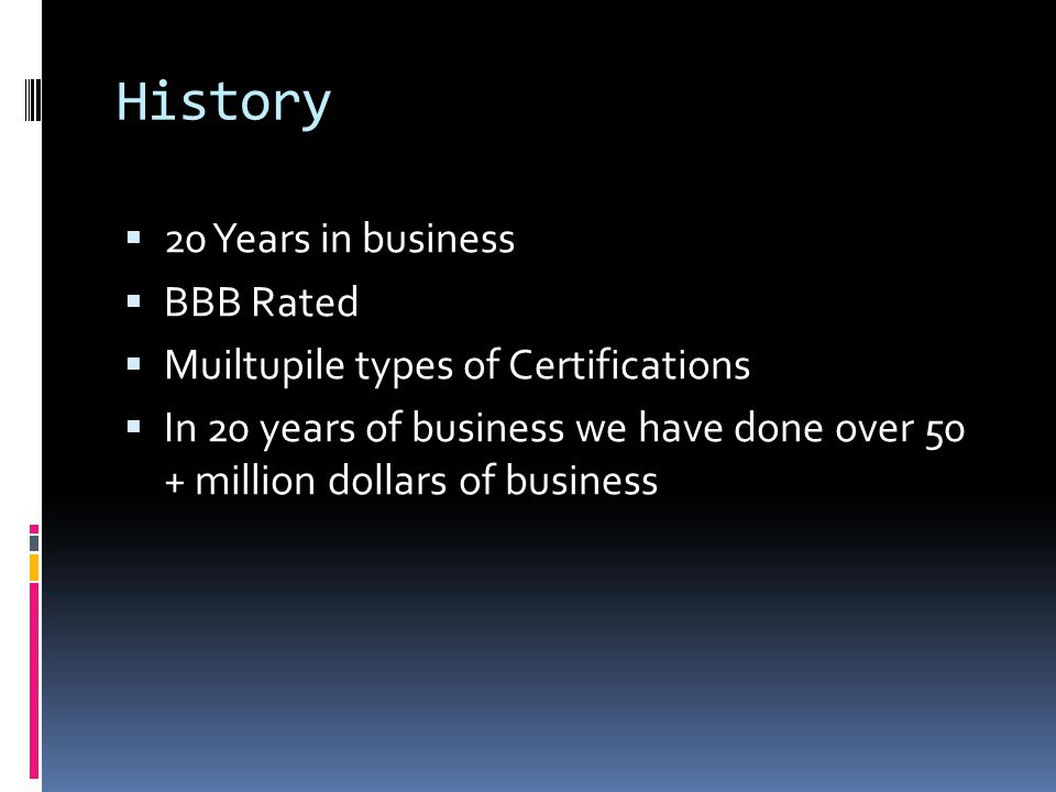 By Zach Kallansrud History 20 Years In Business Bbb Rated