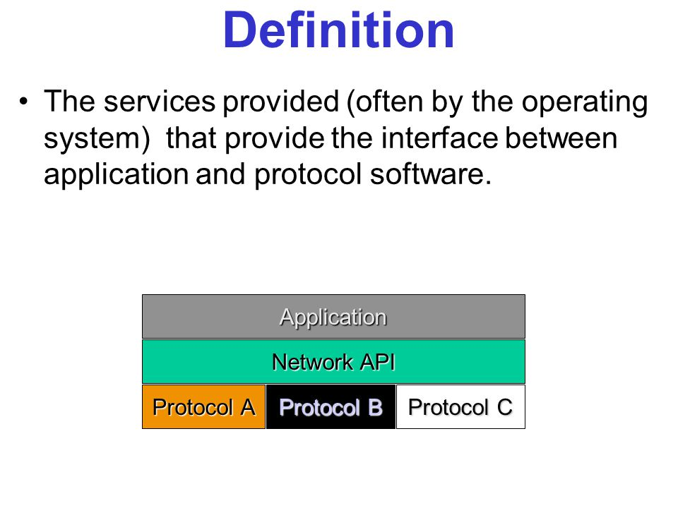 The services provided (often by the operating system) that provide the interface between application and protocol software.