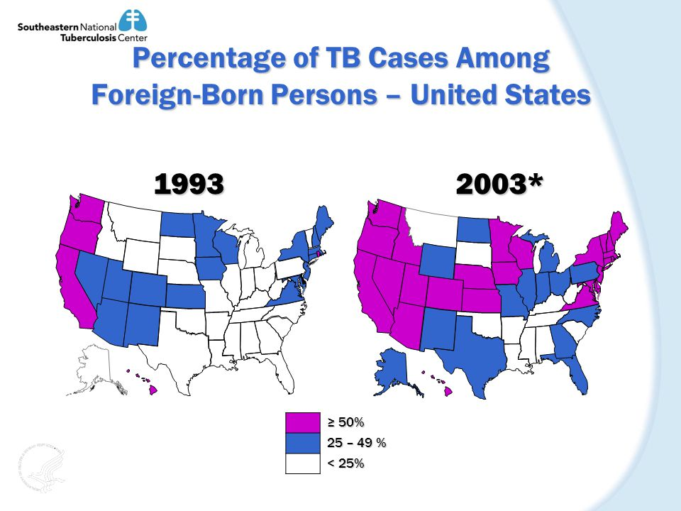Percentage of TB Cases Among Foreign-Born Persons – United States 19932003* 50% 50% 25 – 49 % < 25%