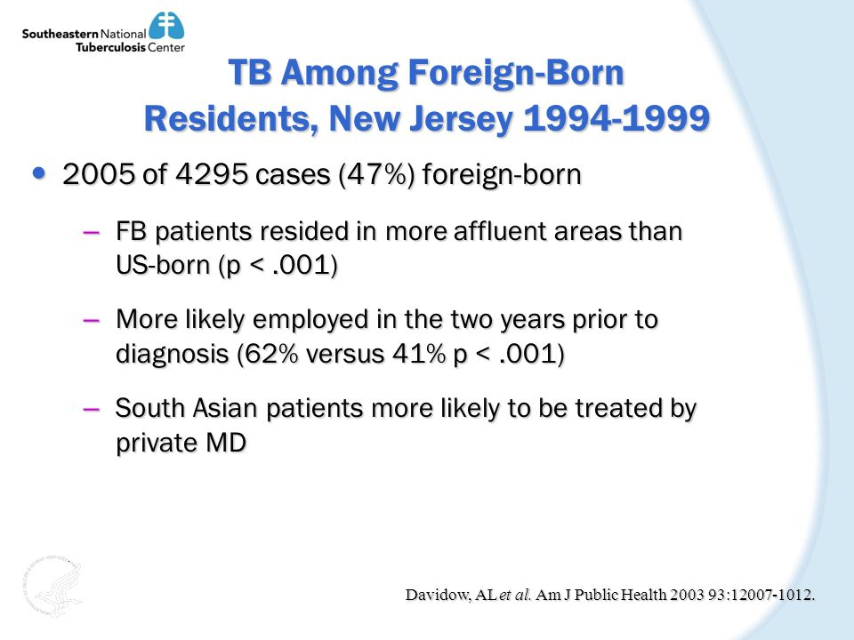 TB Among Foreign-Born Residents, New Jersey 1994-1999 2005 of 4295 cases (47%) foreign-born 2005 of 4295 cases (47%) foreign-born – FB patients resided in more affluent areas than US-born (p <.001) – More likely employed in the two years prior to diagnosis (62% versus 41% p <.001) – South Asian patients more likely to be treated by private MD Davidow, AL et al.
