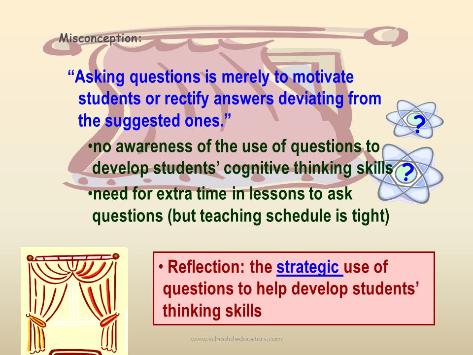 Asking questions is merely to motivate students or rectify answers deviating from the suggested ones.