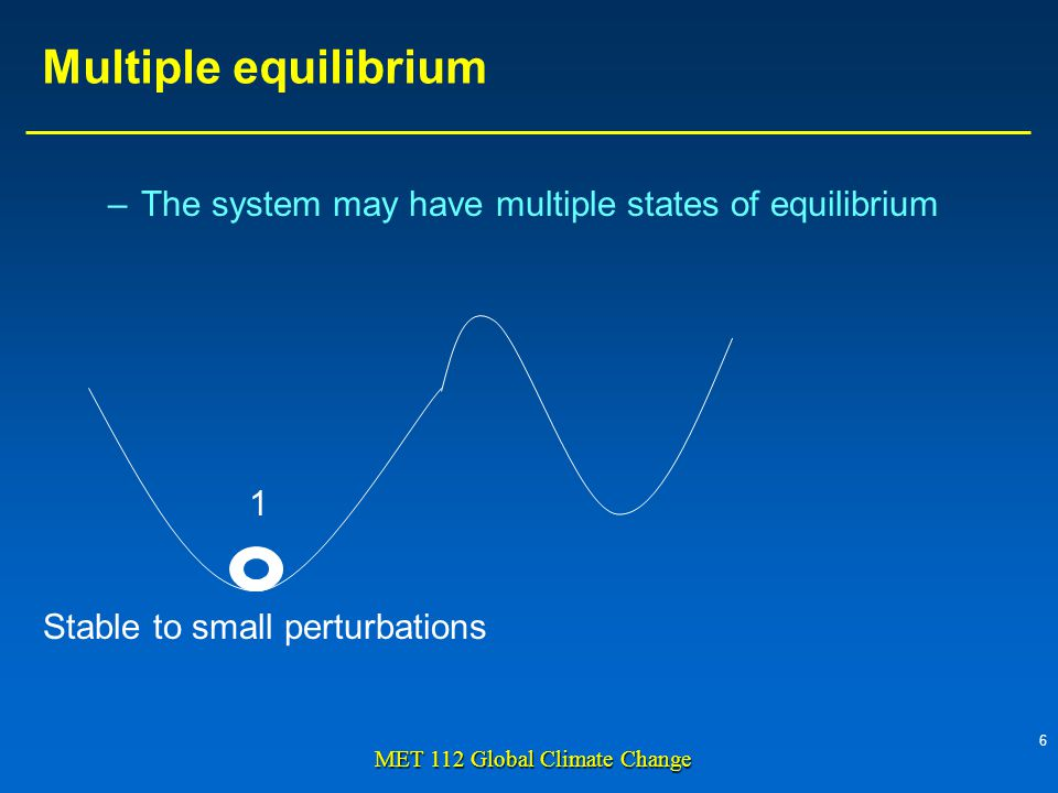 6 MET 112 Global Climate Change –The system may have multiple states of equilibrium Multiple equilibrium Stable to small perturbations 1