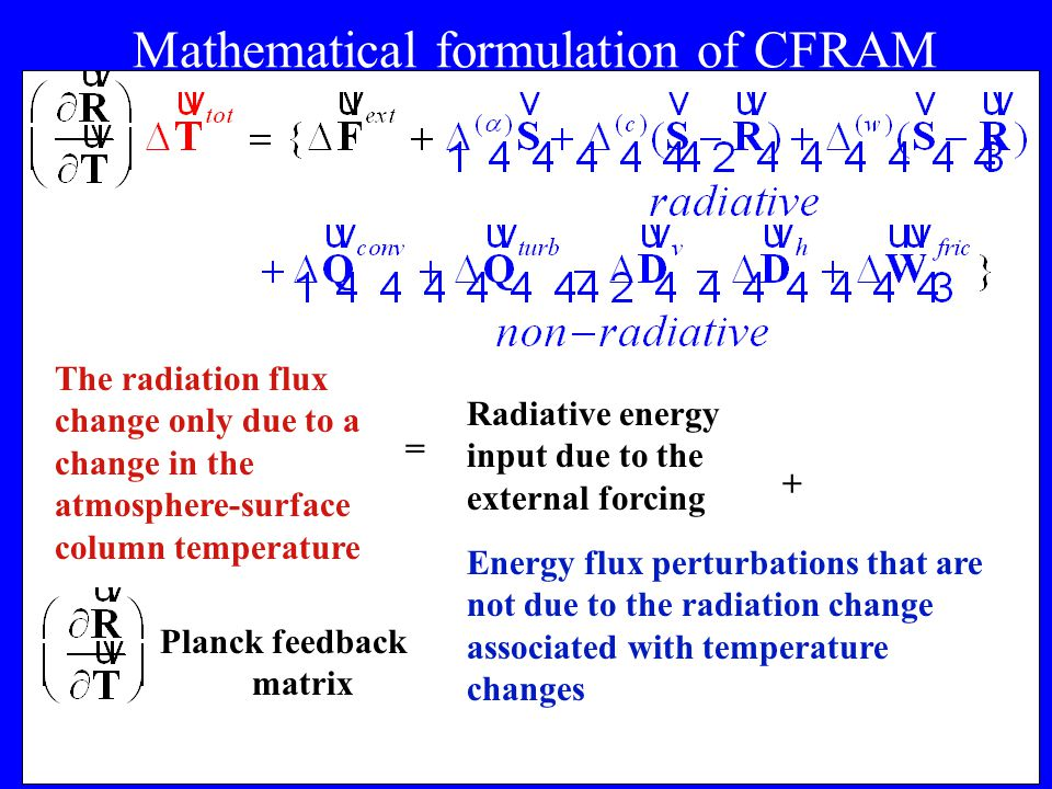 5 Mathematical formulation of CFRAM The radiation flux change only due to a change in the atmosphere-surface column temperature + = Radiative energy input due to the external forcing Energy flux perturbations that are not due to the radiation change associated with temperature changes Planck feedback matrix